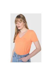 Camiseta Calvin Klein Jeans Logo Laranja
