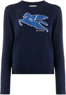 Etro Suéter Com Detalhe Contrastante - Azul