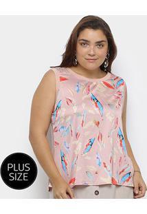 Blusa Regata Heli Plus Size Estampada Feminina - Feminino-Rosa