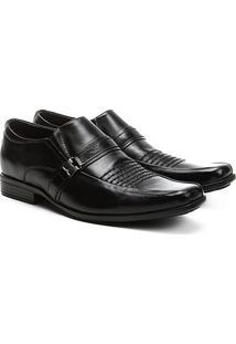 Sapato Social Couro Walkabout Pespontos - Masculino-Preto