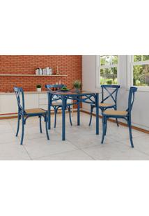 Conjunto De Mesa De Jantar Com 4 Cadeiras E Tampo De Vidro Katrina Azul
