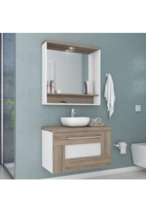 Gabinete Para Banheiro Com Espelheira Verona Siena Móveis Nogal Champagne/Branco