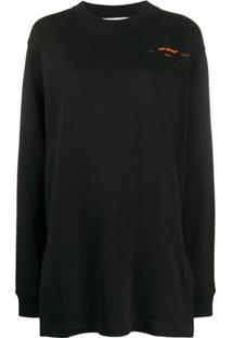 Off-White Suéter Oversized Com Bordado - Preto