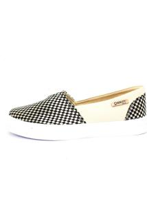 Tênis Slip On Quality Shoes Feminino 002 Trissiê Preto E Bege 34
