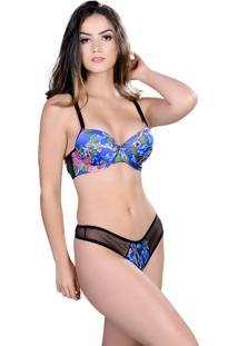 Conjunto Yasmin Lingerie Silk Satin Floral/Azul