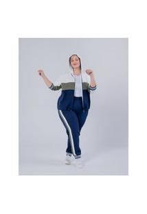 Calça Jogger Almaria Plus Size Miss Taylor Listras Laterais Azul Marinho