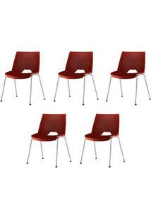 Kit 5 Cadeiras Strike Assento Vermelho Base Cromada - 57685 - Sun House