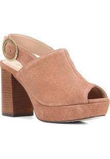 Sandália Couro Shoestock Meia Pata Camurção Feminina