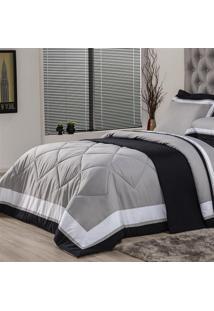 Edredom Queen Plumasul Soft Comfort 240X260Cm Microfibra Cinza