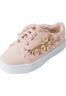 Tenis Hope Shoes Pedraria Galho Rosa