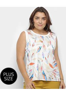 Blusa Regata Heli Plus Size Estampada Feminina - Feminino-Branco