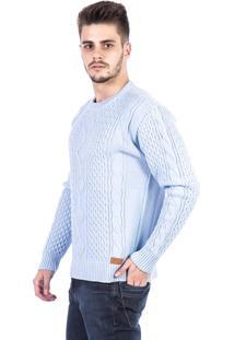 Blusa Tricot Carlan Decote Redondo Trançada Azul