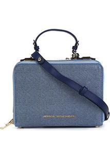 Bolsa Couro Jorge Bischoff Doctor Bag Jeans Feminina - Feminino-Azul