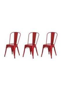 Kit 3 Cadeiras Tolix Iron Design Vermelha Aco Industrial Sala Cozinha Jantar Bar