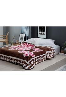 Cobertor Casal 1,80X2,20M Raschel Olivia - Corttex Marrom