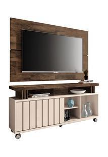 Rack Bancada Com Painel Para Tv Até 50 Pol. Briz H01 Off White/Deck -