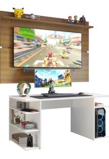 Mesa Gamer Madesa 9409 E Painel Para Tv Até 65 Polegadas - Branco/Rustic Branco