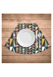 Jogo Americano Para Mesa Redonda Wevans Geometric Colors Kit Com 6 Pçs