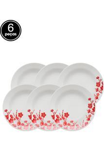 Conjunto De Pratos Fundos Oxford Biona Donna Jardim Oriental 6 Pçs Branco/Vermelho