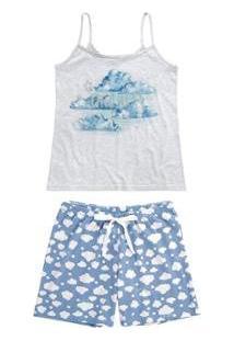 Pijama Malwee Liberta Curto Estampado Balões Feminino - Feminino-Cinza Claro
