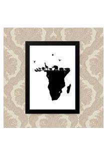 Quadro Decorativo 33X43Cm Nerderia E Lojaria Animais Africa Preto