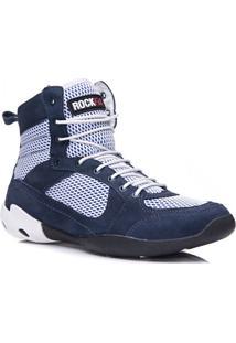 Bota De Treino Masculina Rockfit Challenger Em Couro Azul E Branco