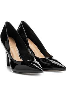 Scarpin Shoestock Salto Alto Cone - Feminino-Preto