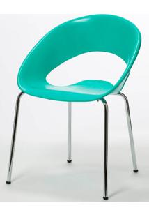 Cadeira One Base Fixa Cromada Cor Verde Agua - 22669 Sun House