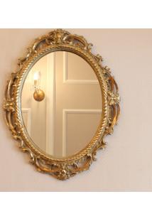 Espelho Oval Veneza Com Moldura Dourada