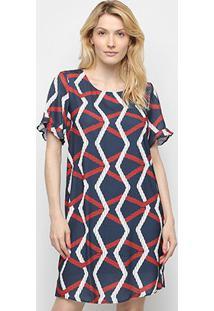 Vestido Curto Lança Perfurme Amarração Costas Estampado - Feminino-Azul