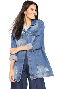 Jaqueta Jeans Dzarm Tachas Azul