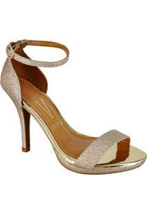 Sandalia Salto Fino Dourada Brilhos Vizzano 60490012