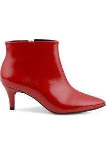 Ankle Boot Mr Cat Bico Fino Feminino - Feminino-Vermelho