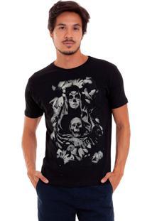 Camiseta Masculina Joss Caveira Mexicana Preto