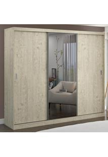 Guarda-Roupa Casal 3 Portas Com 1 Espelho 100% Mdf 7320E1 Marfim Areia - Foscarini