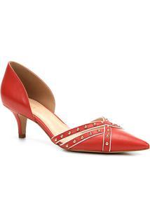 Scarpin Couro Shoestock Salto Baixo Cravos - Feminino-Vermelho
