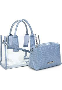 Bolsa Loucos & Santos Shopper Croco Verniz Feminina - Feminino-Azul Claro