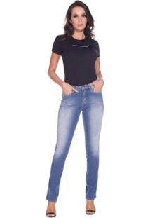 Calça Jeans Destroyed Osmoze Slim Fit Feminina - Feminino-Azul