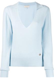 Emilio Pucci Suéter Decote Em V De Cashmere - Azul