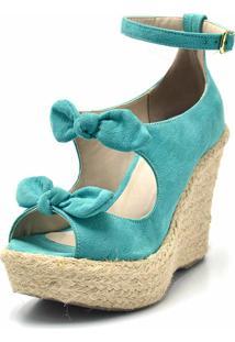 Sandália Plataforma Flor Da Pele Azul Turquesa