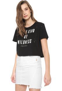 Camiseta Cropped Colcci Destroyed Preta