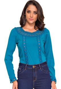 Blusa Rosa K Glam Guipir Azul Turquesa