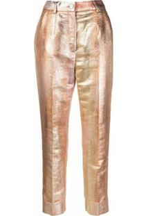 Dolce & Gabbana Calça Cropped Com Efeito Degradê - Dourado