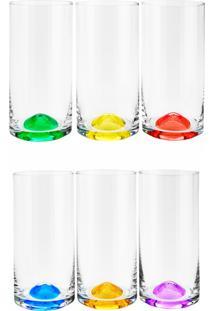 Conjunto Rojemac 6 Copos Alto De Cristal Ecológico Set-Bar Favorit Wave Colorido