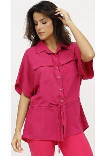 Camisa Lisa Com Canaleta - Rosa - Estilo Hestilo H