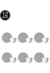 Conjunto 12Pçs Xícara De Café Com Pires Germer Pérola Branco