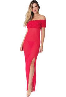 Camisola Rendada Longa Luxo Vermelha Diário Íntimo - Tricae