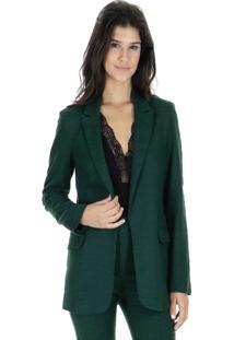 Blazer Tweed Liso Alongado - Verde - Feminino - Dafiti