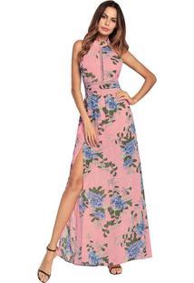 Vestido Longo Floral Com Laço Nas Costas - Rosa Xgg