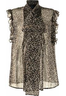 Costarellos Blusa Semi-Translúcida Justina Com Estampa Leopardo - Marrom